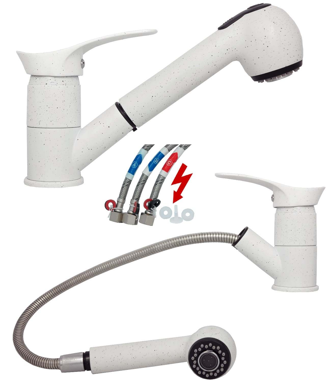 niederdruck spültischarmatur küchenarmatur wasserhahn ausziehbar ... - Wasserhahn Küche Weiß
