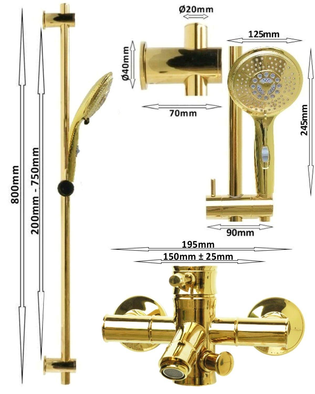 retro duschset duschstange variabel badewannenarmatur handbrause schlauch gold ebay. Black Bedroom Furniture Sets. Home Design Ideas