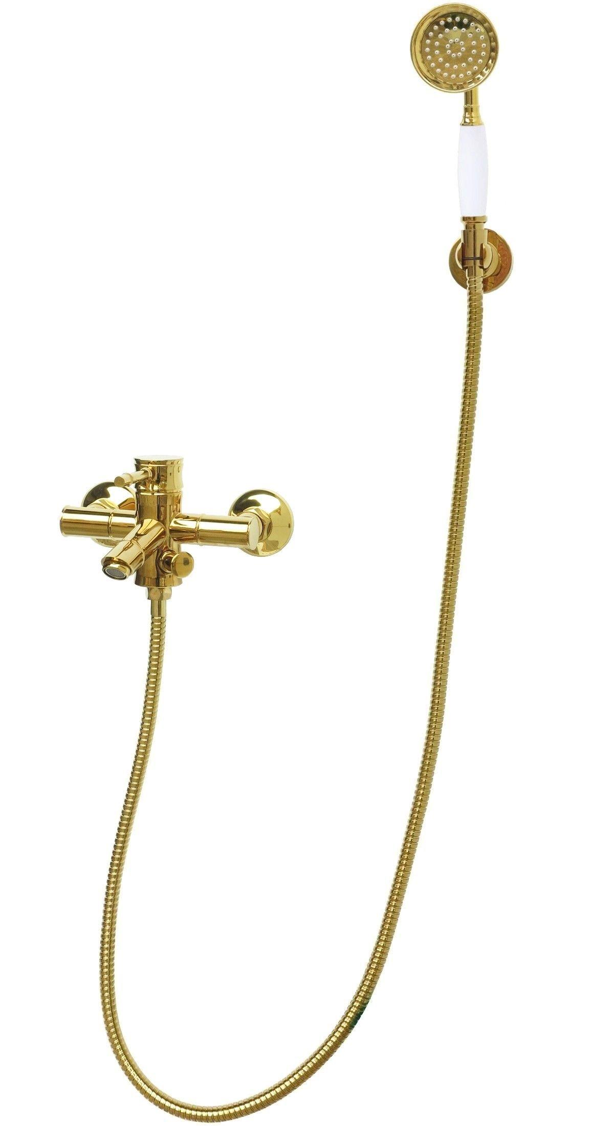retro mischbatterie badewannen wannen armatur handbrause brauseschlauch in gold ebay. Black Bedroom Furniture Sets. Home Design Ideas