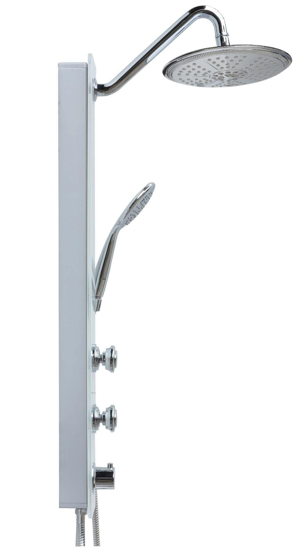 glas duschpaneel thermostat dusche duschs ule regendusche 5 funktionen in wei ebay. Black Bedroom Furniture Sets. Home Design Ideas