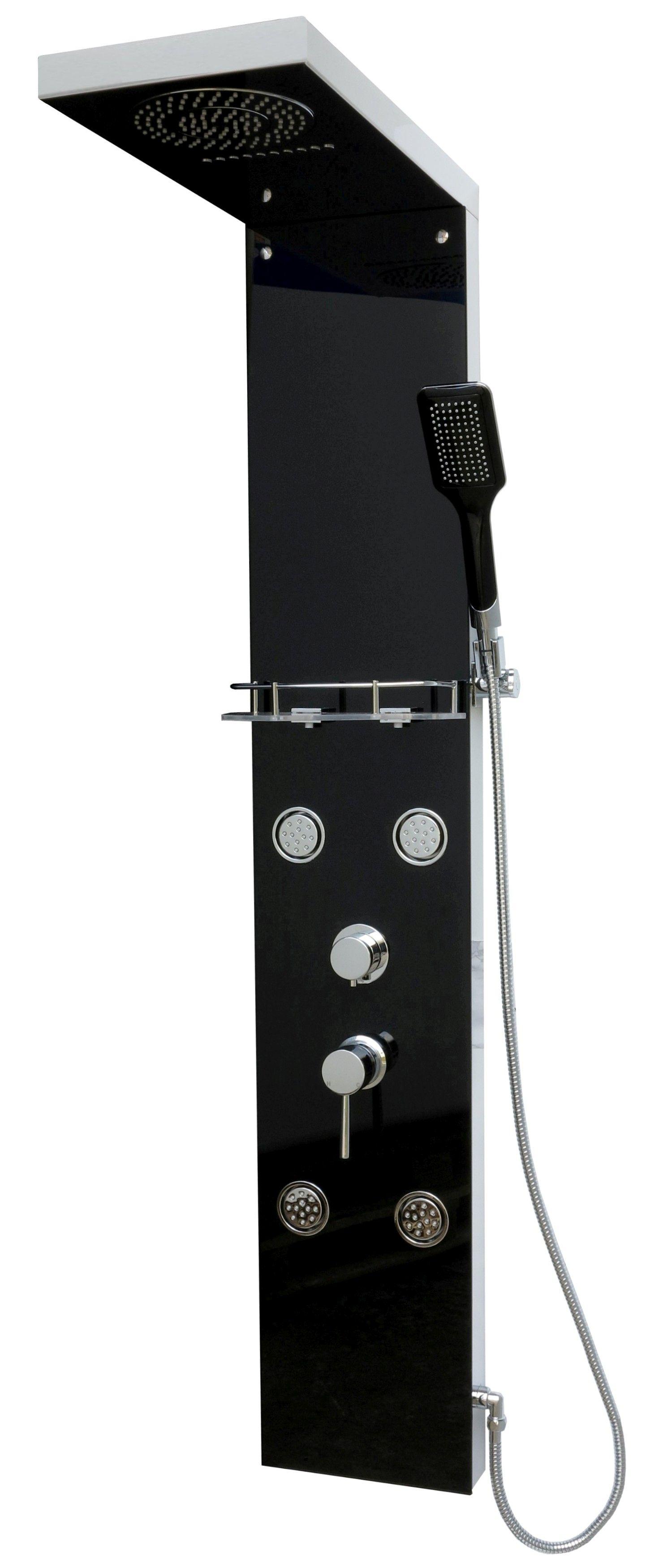 edelstahl duschpaneel duschs ule regendusche dusche sicherheits glas in schwarz ebay