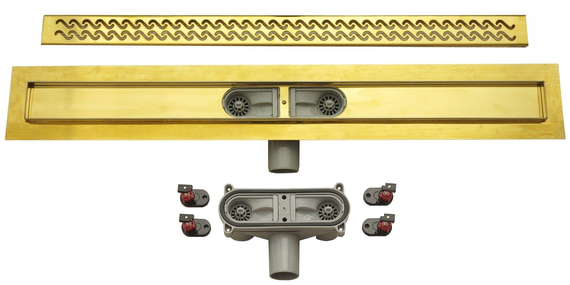duschrinne ablaufrinne duschablauf bodenablauf 80cm siphon ablauf bad rinne gold ebay. Black Bedroom Furniture Sets. Home Design Ideas