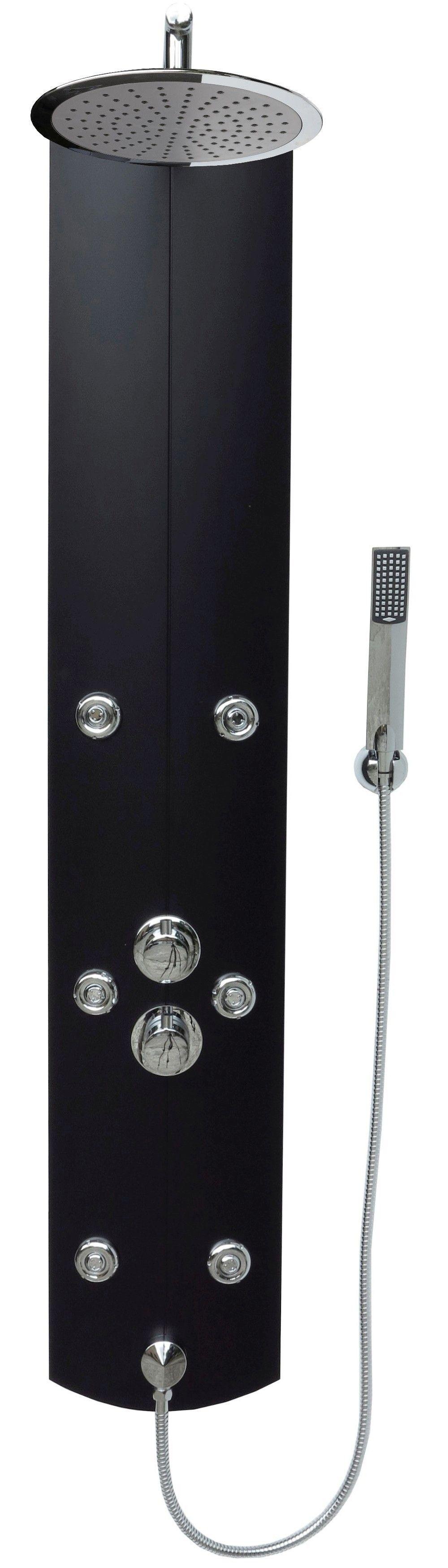 duschpaneel duschs ule thermostat duscharmatur brausepaneel regendusche schwarz ebay. Black Bedroom Furniture Sets. Home Design Ideas
