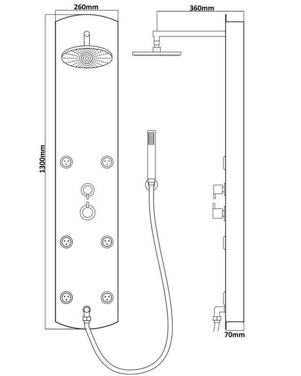 thermostat paroi de douche colonne panneau bec baignoire pluie ebay. Black Bedroom Furniture Sets. Home Design Ideas