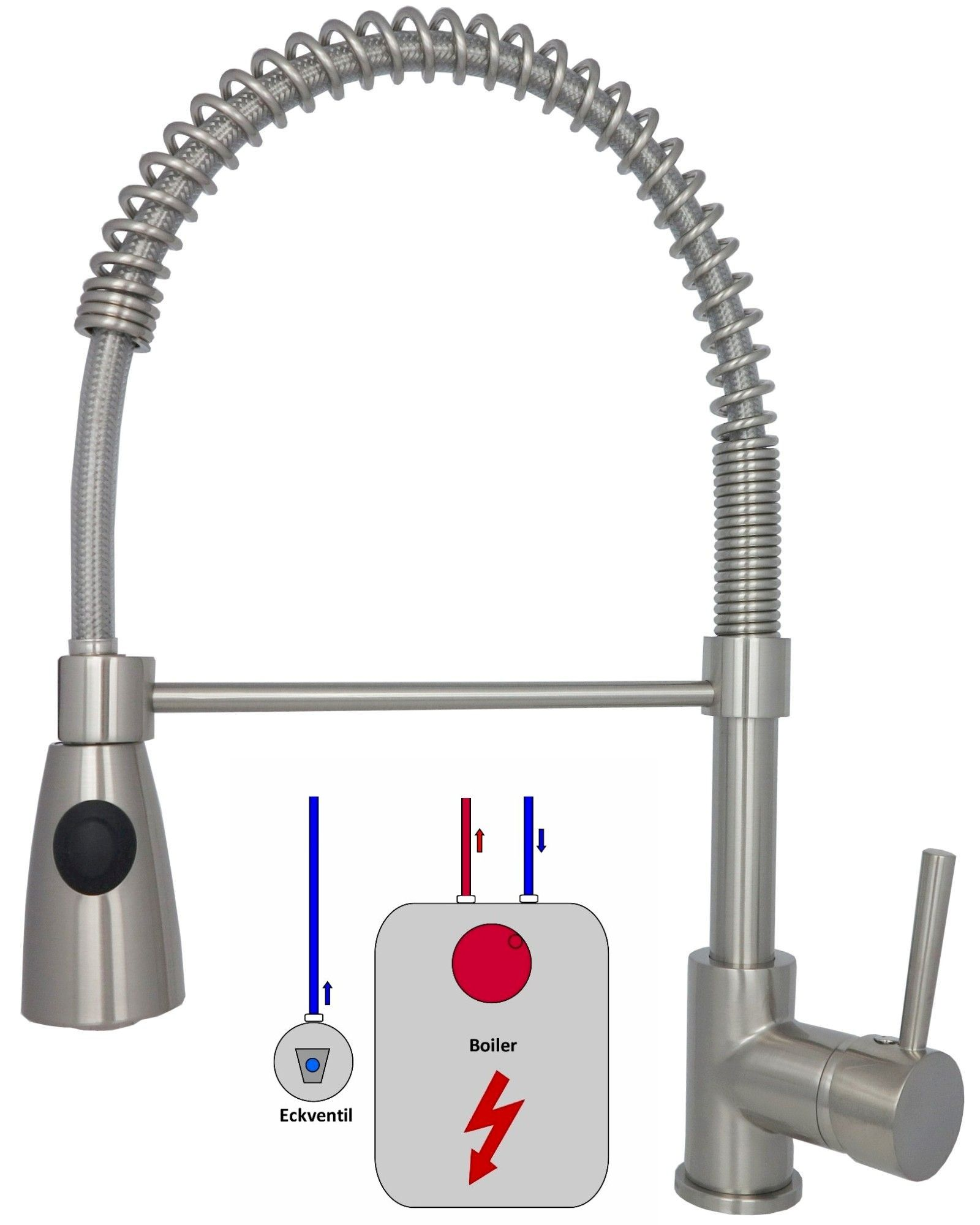 Niederdruck Küchenarmatur Edelstahl Wasserhahn Mischbatterie ...