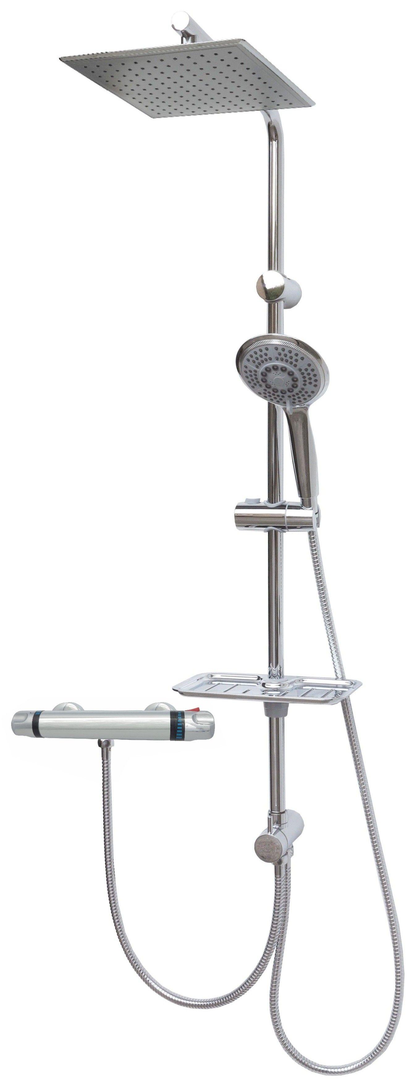 duschset duschstange duscharmatur thermostat duschkopf regendusche brause chrom ebay. Black Bedroom Furniture Sets. Home Design Ideas