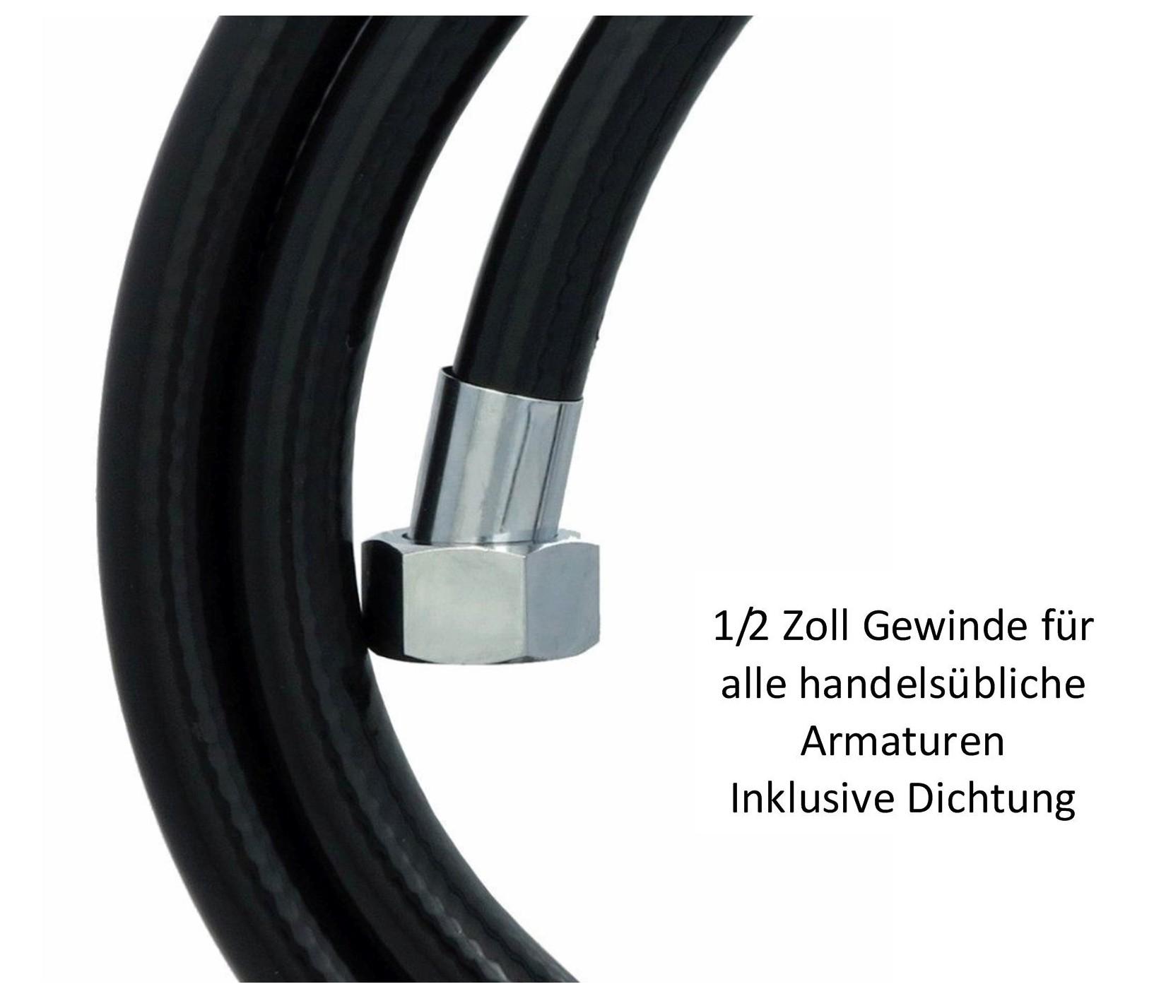 brauseschlauch 150cm duschschlauch pvc verdrehschutz 1 2 zoll schlauch schwarz ebay. Black Bedroom Furniture Sets. Home Design Ideas