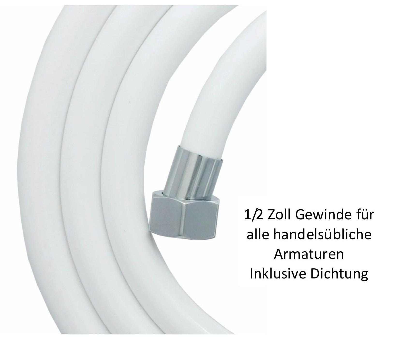 brauseschlauch 200cm duschschlauch pvc verdrehschutz 1 2 zoll schlauch in weiss ebay. Black Bedroom Furniture Sets. Home Design Ideas