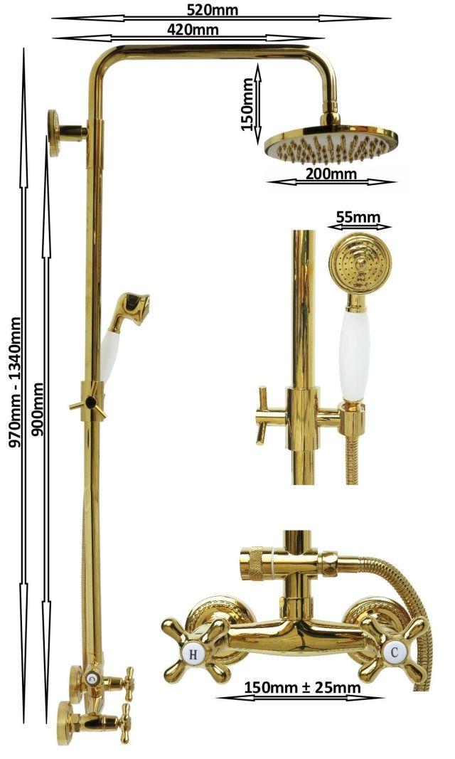 duschset badewannenset duschsystem duschgarnitur armatur retro dusche gold antik ebay. Black Bedroom Furniture Sets. Home Design Ideas