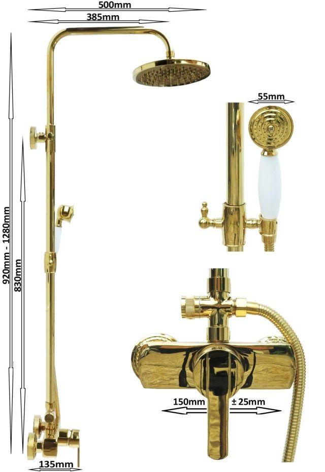 duschset badewannenset duschsystem duschgarnitur armatur retro dusche wanne gold ebay. Black Bedroom Furniture Sets. Home Design Ideas