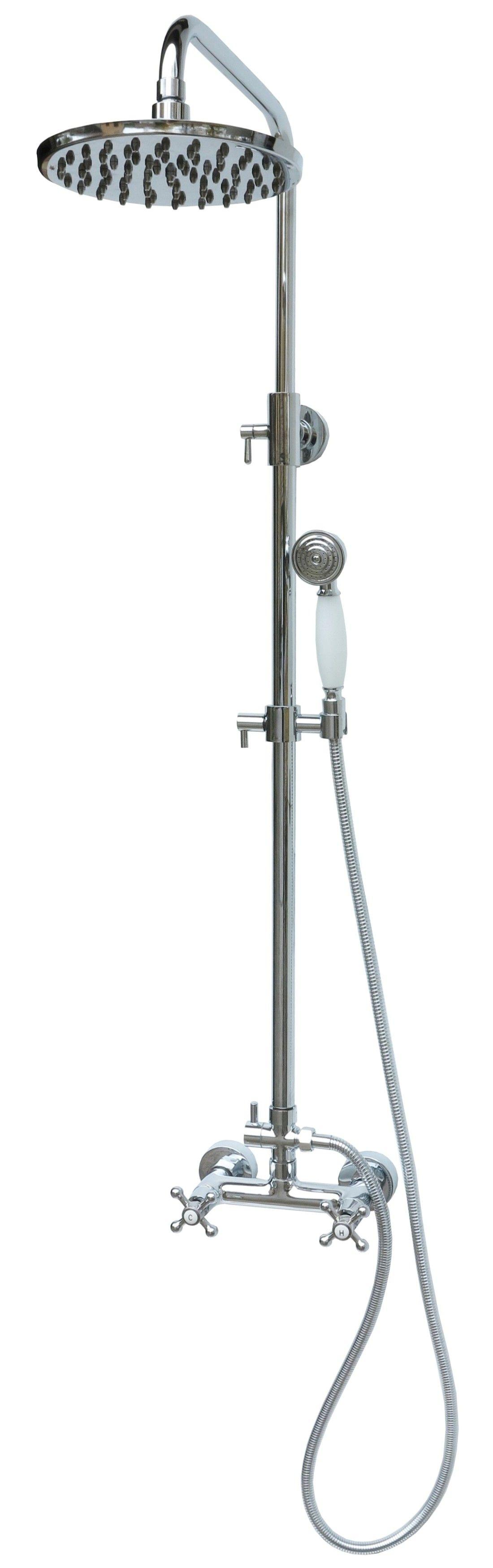 duschset duschsystem duschgarnitur armatur retro nostalgie dusche brause chrom ebay. Black Bedroom Furniture Sets. Home Design Ideas
