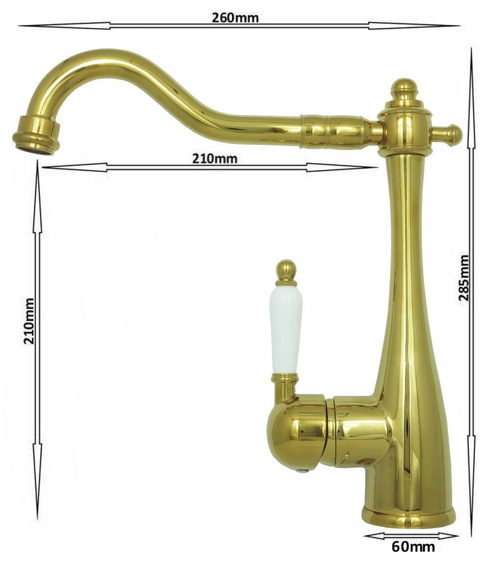 Lavabo vier robinet mitigeur levier unique salle de bain cuisine r tro dor ebay - Robinet evier salle de bain ...