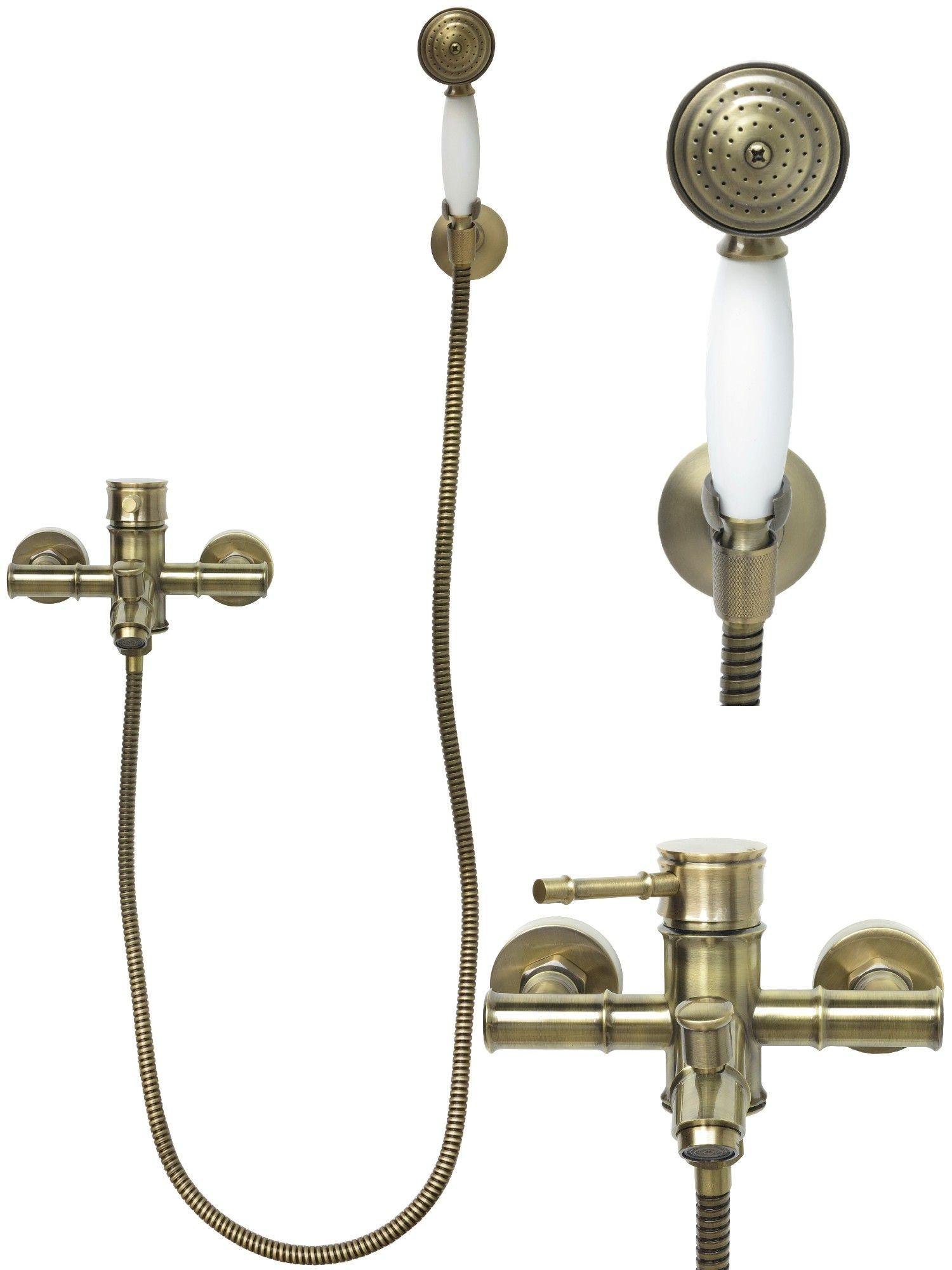 retro mischbatterie badewannen wannen armatur handbrause brauseschlauch bronze ebay. Black Bedroom Furniture Sets. Home Design Ideas
