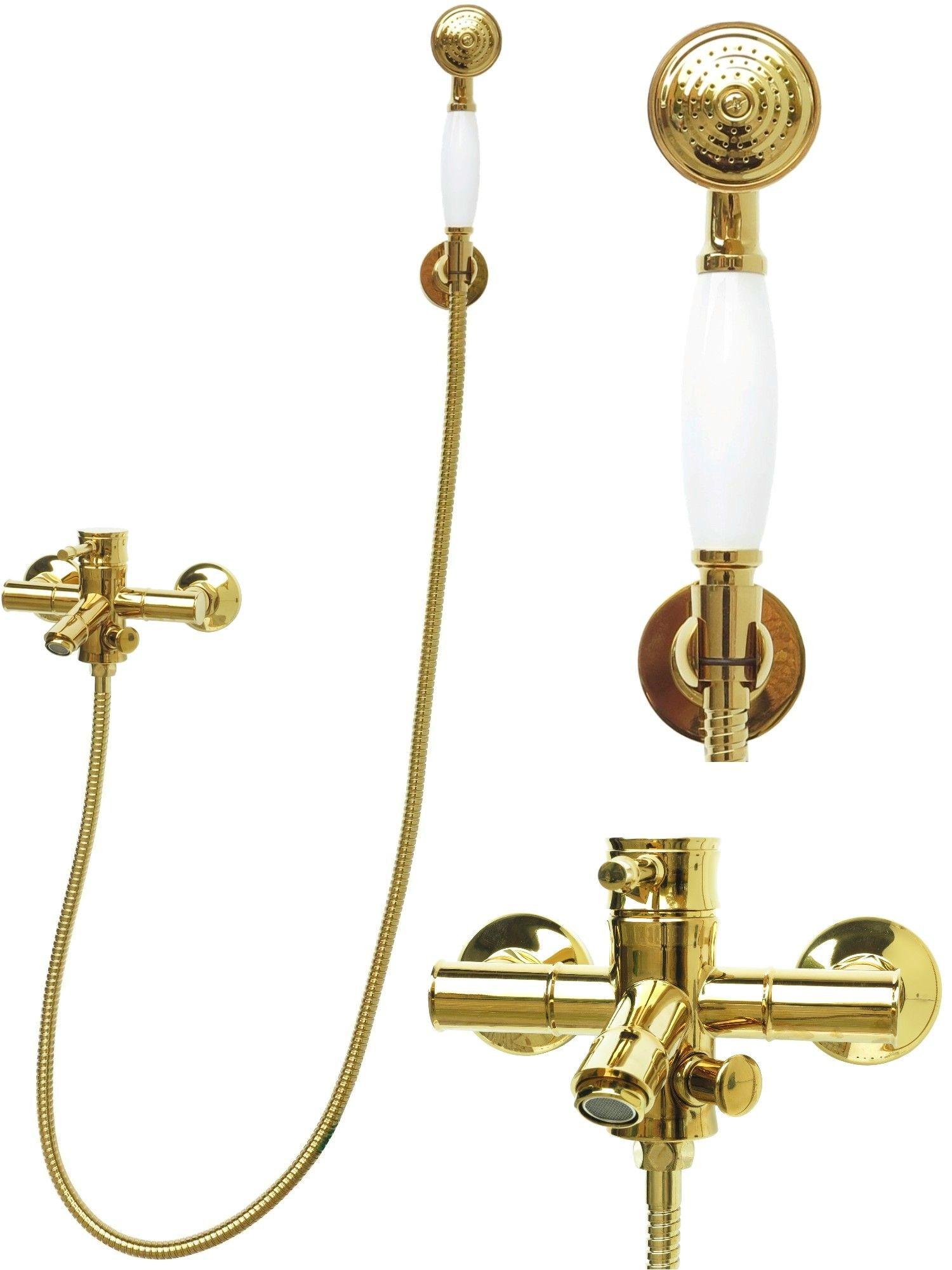wannenarmatur mischbatterie badewannen handbrause brauseschlauch retro in gold 4260274932360 ebay. Black Bedroom Furniture Sets. Home Design Ideas