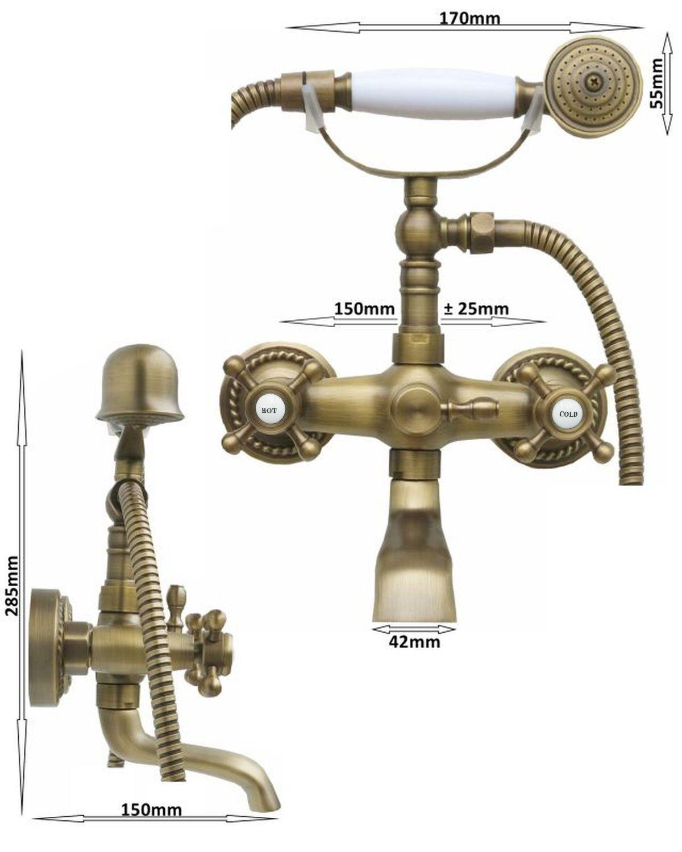 duschset duscharmatur handbrause badewannen duschkopf brauseschlauch retro antik ebay. Black Bedroom Furniture Sets. Home Design Ideas